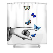Pointing Finger With Blue Butterflies Shower Curtain