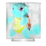 Pokemon Squirtle Abstract Portrait - By Diana Van Shower Curtain