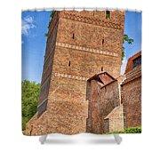 Poland, Torun, Crooked Tower. Shower Curtain