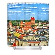 Poland, Torun, Urban Landscape. Shower Curtain
