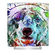 Polar Bear Colored Grunge Shower Curtain