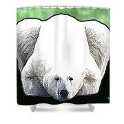 Polar Bear - Green Shower Curtain