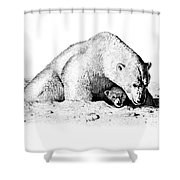 Polar Bear Protects Her Young Shower Curtain