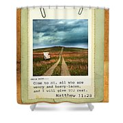 Polaroid On Weathered Wood With Bible Verse Shower Curtain
