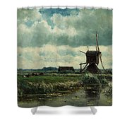Polder Landscape With Windmill Near Aboude Shower Curtain