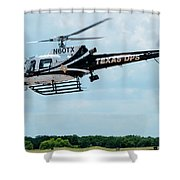 Police Helicopter Taking Off Shower Curtain