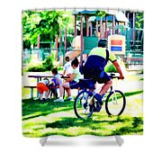 Police Officer Rides A Bicycle Shower Curtain