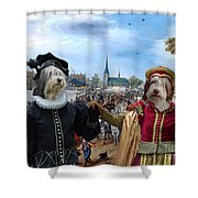 Polish Lowland Sheepdog Art Canvas Print - Prince And Princess Of Orange Shower Curtain