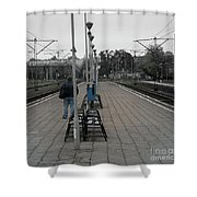 Polish Train Station Shower Curtain