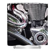 Polished Motorcycle Chrome Shower Curtain