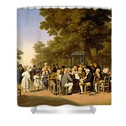 Politicians In The Tuileries Gardens Shower Curtain by Louis Leopold Boilly