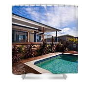 Poll And House With Deck Shower Curtain