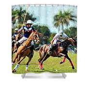 Polo Players And Ponies Shower Curtain