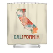 Polygon Mosaic Parchment Map California Shower Curtain