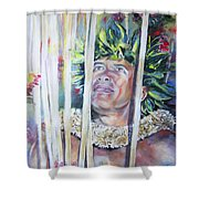 Polynesian Maori Warrior With Spears Shower Curtain