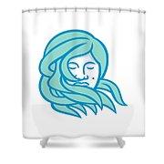 Polynesian Woman Flowing Hair Mascot Shower Curtain