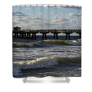 Pompano Beach Fishing Pier At Sunrise Florida Sunrise Waves Shower Curtain