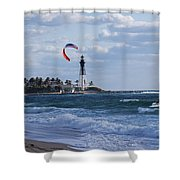 Pompano Beach Kiteboarder Hillsboro Lighthouse Shower Curtain