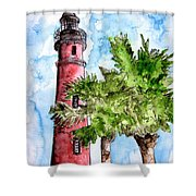 Ponce De Leon Inlet Florida Lighthouse Art Shower Curtain