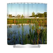 Pond At Sunset Shower Curtain