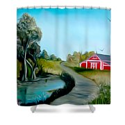 Pond By The Red Barn Dreamy Mirage Shower Curtain