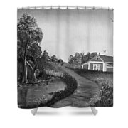 Pond By The Red Barn In Black And White Shower Curtain
