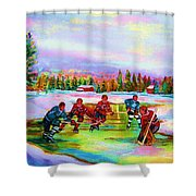 Pond Hockey Blue Skies Shower Curtain