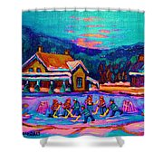 Pond Hockey Two Shower Curtain