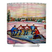 Pond Hockey Warm Day Shower Curtain
