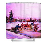 Pond Hockey Warm Skies Shower Curtain