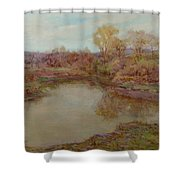 Pond In Early Autumn Shower Curtain
