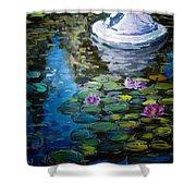 Pond In Monet Garden Shower Curtain