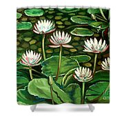 Pond Of Petals Shower Curtain