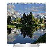 Pond Reflection At Schwabacher Landing Shower Curtain