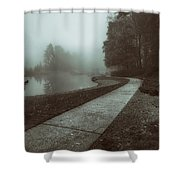 Pond Walk In Black And White Shower Curtain