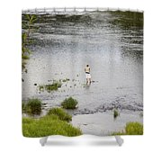 Pondering Fisherman Shower Curtain