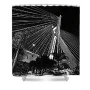 Ponte Octavio Frias De Oliveira At Night - Sao Paulo, Brazil Shower Curtain