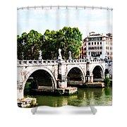 Ponte Saint' Angelo, Rome Shower Curtain