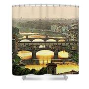 Ponte Vecchio Enlighten By The Warm Sunlight, Florence. Shower Curtain