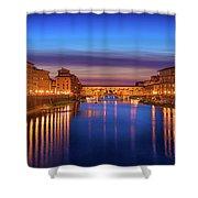 Ponte Vecchio Nigth Panorama Shower Curtain