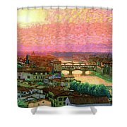 Ponte Vecchio Sunset Florence Shower Curtain
