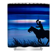 Pony Express Rider Blue Shower Curtain