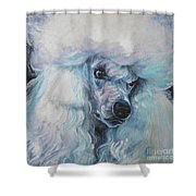 Poodle White Standard Shower Curtain