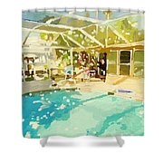 Pool And Screened Pool House Shower Curtain