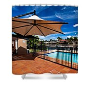 Pool And Umbrella Shower Curtain