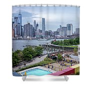 Pool With A View, Brooklyn, New York #130706 Shower Curtain