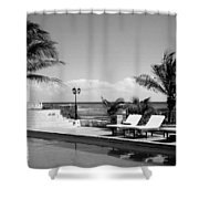 Poolside B-w Shower Curtain