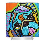 Pooped Pup Shower Curtain