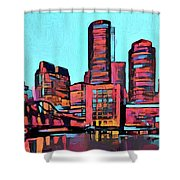 Pop Art Boston Skyline Shower Curtain