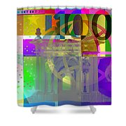 Pop-art Colorized One Hundred Euro Bill Shower Curtain